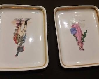 Vintage French L.T. Chamart White Porcelain Trays, Set of 2