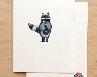 Valentine Card Heart Thief Raccoon