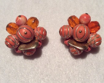 Adorable Vintage Clip On Earrings - Orange with Gold Baubles - 1950s Era