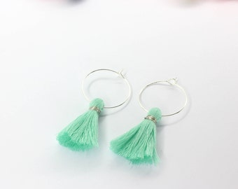 FREE SHIPPING - Hoop tassel earrings (Mint)