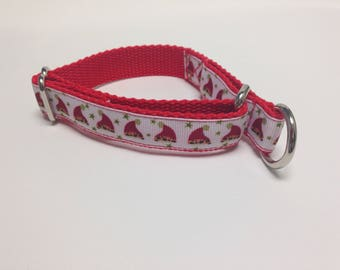 Limited Slip Dog Collar, Small Red Limited Slip Collar, Santa Hat Limited Slip Dog Collar, Small Adjustable Christmas Dog Collar