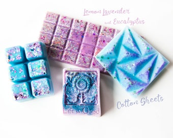 Cotton Sheets | Lemon Lavender & Eucalyptus Wax Melts (8.4 Oz) - Hand Poured Wax - Wax Melts - Wax Tarts - Melts - Glitter Wax - Handmade