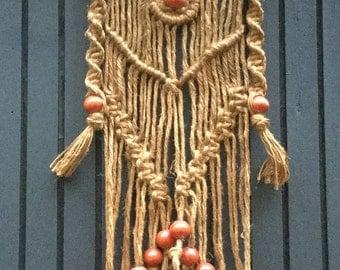 Macrame wormwood with wood beads