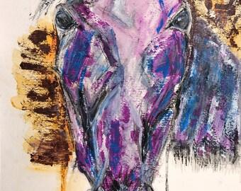 Horse - acrylic painting - watercolor - charcoal - Animal art portrait