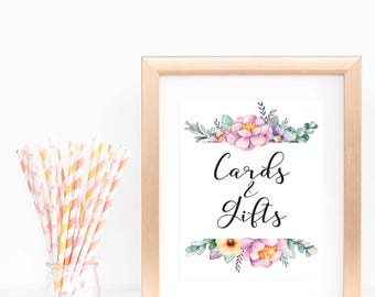 Cards and Gifts Sign Printable Floral Baby Shower Table Signs Cards and Gifts Download Baby Party Decorations Garden Bridal Shower Signs FU1