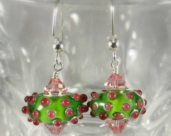 Lampworked glass and Swarovski Earrings