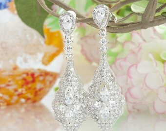 Rhinestone Earrings Crystal Wedding Earrings Crystal Earrings Crystal Swarovski Earrings Long Bridal Earrings Vintage Silver Wedding Jewelry