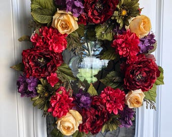 Spring wreath, summer wreath, peony wreath, wreath for front door, front door wreath, dahlia wreath, red wreat, everyday wreath