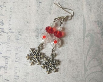 Holiday festive Red white snowflake earrings bright red silver plated snow white red glass christmas woman winter jewelry xmas wife gift