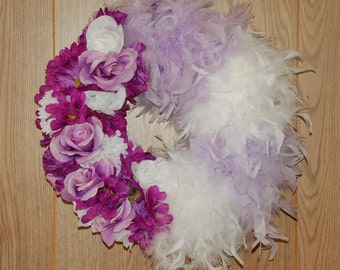 Purple Flower and Feather Wreath