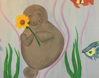 Bright Uplifting Modern Art Manatee Painting, Handmade Acrylic on Canvas, ready to hang 16x20