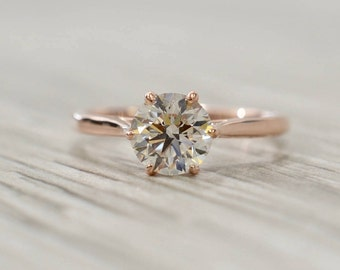 Round Brilliant in a Petite 1.9mm Six Prong Tulip Solitaire Engagement Ring in Rose