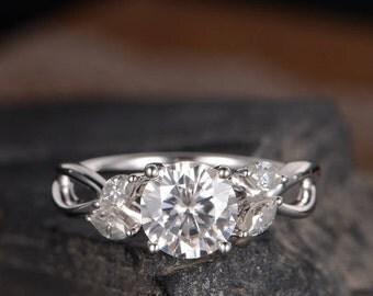 Moissanite Engagement Ring White Gold Marquise Infinity Band Flower Leaf Vine Split Shank Anniversary Promise Ring Bridal Gift For Her