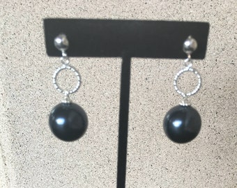 Black Pearls  Earrings by Dobka