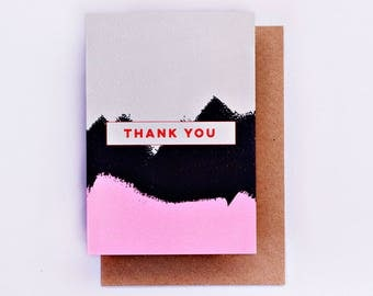 Thank You Brushstroke Card, Illustration, Fashion Stationery, Fashion Card, Cool Card, Pink, Thanks, Fashion Gift, Mothers Day, Thankyou