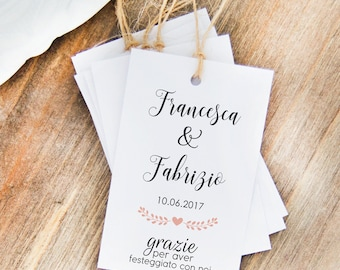 Cards, favour Tags Names wedding, custom labels for wedding favors