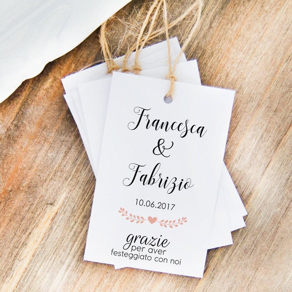 Connu Bigliettini Per Confetti Etichette Nomi Matrimonio Etichette UZ35