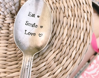 """Spoon to give to his friend girlfriend MOM love Grandma """"smile eat love"""" - engraved spoon"""