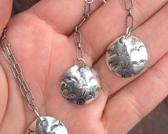 Sterling Silver Stamped Disc Earring and Necklace Set