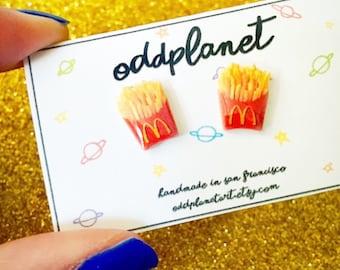 French Fries Stud Earrings - McDonald's Shrink Plastic Jewelry - OddplanetArt