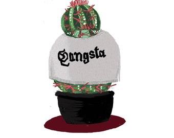 Gangster Succulent Sweater Illustration Print