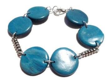 Blue and varnished Fimo multironds bracelet