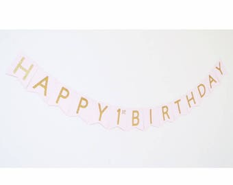 happy 1st birthday banner, 1st birthday decorations, gold and pink birthday banner, pink and gold birthday banner, girl, sign first birthday