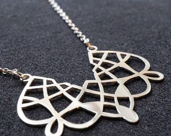 Spirograph Necklace - Belcher Chain - Graphic Necklace - One of a Kind - Retro Games Jewellery - Lace Pendant - Sterling Silver Necklaces