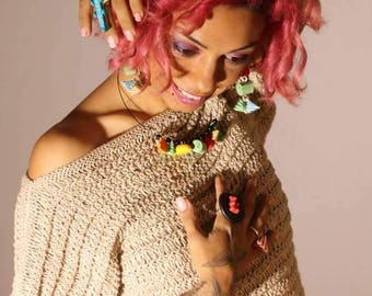 Necklace crew-neck sweater hodgepodge berlingots
