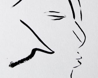 ORIGINAL minimalist ink portrait. Sumi ink with bamboo brush. Portrait ink drawing.