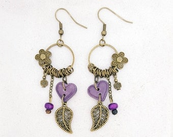 Bronze heart way Purple Leather - flower and leaf earrings