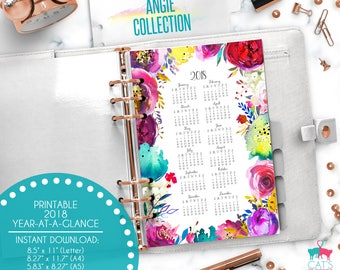 Printable Calendar A5 A4 Letter Watercolor Planners 2018 Year at a Glance   Angie Floral Collection   ANCYG18