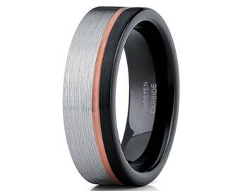 Rose Gold Tungsten Ring Men & Women Tungsten Wedding Band Grey Wedding Band Tungsten Carbide Ring Black Brush