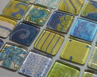 """Floral Blue & Green Magnets 