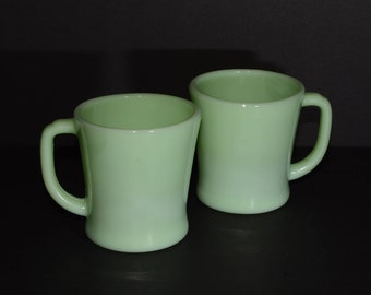 Set of 2 FIRE KING, Jadeite, Coffee Cups, Collectible Fire King, Vintage Fire King, Anchor Hocking, Green Fire King, Mugs, D-Handle