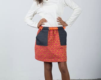 The Pria Pocket Skirt, a Simple, A-line Skirt with Fun Patch Pocket and Belt Loops; Elastic Waist Skirt; Modern and Easy to Sew
