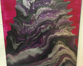 Silver Mountain Acrylic Pour Painting 16x20