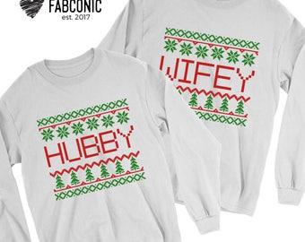 Ugly Christmas Sweater, Christmas Sweater, Hubby Wifey Christmas Sweaters, Matching Couple Sweatshirts, Ugly Christmas Sweaters for Couple
