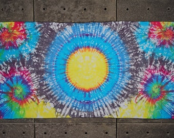 "Tie dye tapestry with eyelets bedroom decor Rainbow fireworks alien hippy psychedelic decor  Gift for him 97x49"" 247x125 cm Yellow grey pink"