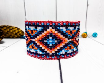 Ethnic red bracelet Clothing Beauty gift Ethnic Multicolor Light seed bead bracelet Jewelry Cuff gift beaded Bracelet weaving