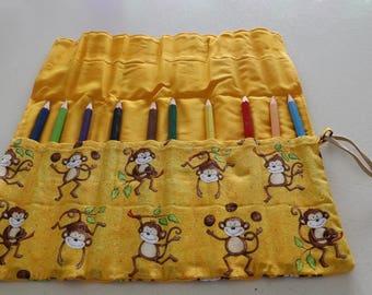 Monkey patterned pencil holder