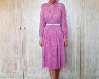 Vintage dress,Romantic dress,Silk dress,Lilac dress,Light purple dress,Long sleeve dress,70's dress,Middle length dress,Spring dress