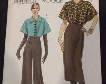 Vogue Sewing Pattern V8604, Vogue Very Easy sewing pattern, Vogue High Waist pants sewing pattern, Vogue Jacket, Skirt and pants sewing
