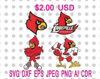 Louisville Cardinals Logo Svg Dxf Eps Png Jpg Cdr Ai Cut Vector File Silhouette Cameo Cricut Design Vinyl Decal