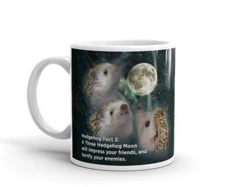 Hedgehog Mug: Hedgehog Facts Three Hedgehog Moon And Groovy Hedgehogs Mug by Urchin Wear a Pricklepants Original Coffee or Tea Mug Design