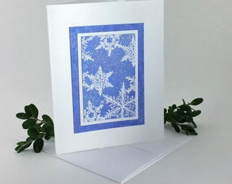 Snowflakes on blue no. 1, embossed blank card, individually handmade: A2, winter, let it snow, SKU BLA21028
