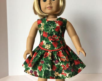 "Holly Leaves Christmas Dress for American Girl and 18"" Inch dolls"