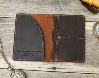 Engraved Passport Cover - Passport Holder - Personalized 3rd Leather Anniversary Gift - Custom Travel Wallet Accessory