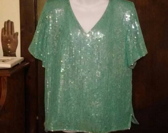 Vintage 80s Megere Teal Seafoam Sequin Silk Blouse Short Sleeve