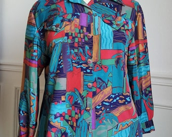 80's graphic blouse